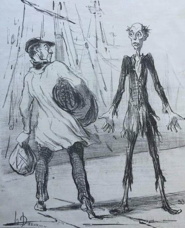 Rare Set of 4 - DAUMIER'S only CALIFORNIA GOLD RUSH Caricatures