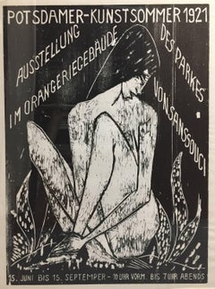LARGE RARE OTTO MUELLER WOODCUT POSTER