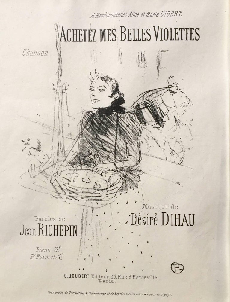 HENRI de TOULOUSE-LAUTREC (French, 1864-1901)  ACHETEZ MES BELLES VIOLETTES 1895 (Wittrock 135, A.165)  Lithograph, on a thin sheet of fine Chine paper. The second state of four, from the edition of an unknown size printed in 1895 with the text.