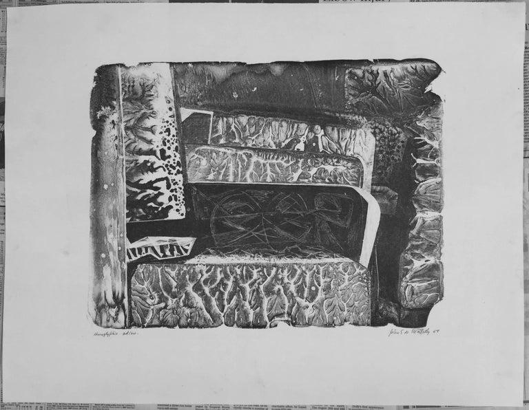 HIEROGLYPHIC - Gray Abstract Print by John Stockton De Martelly