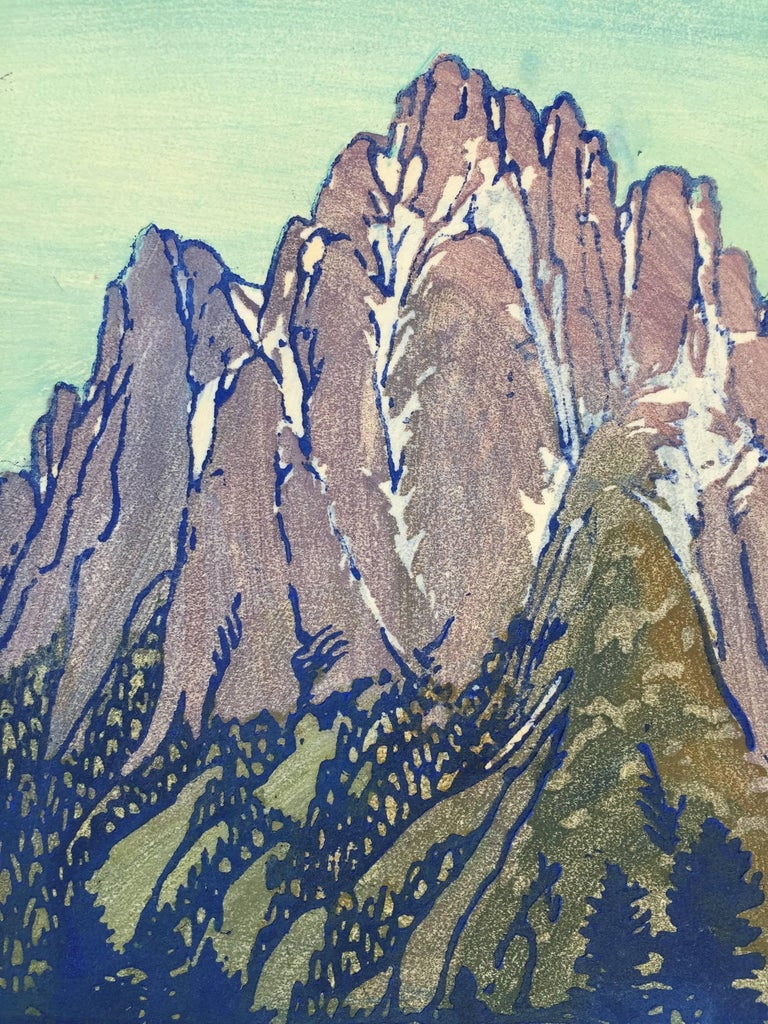 FRANCES H. GEARHART (1869-1958)  LONELY SIERRA, ca. 1929  Color block print. 9 1/8 x 6 1/4 inches. Sheet 14 1/2 x 9 inches. Signed in pencil. SIGNED IMPRESSIONS OF THIS PRINT ARE RARE. It is usually found unsigned. Untitled. Very good, fresh