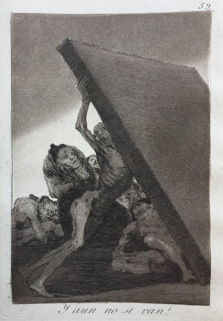 FRANCISCO JOSE de GOYA y LUCIENTES (1746 – 1828)            Y AUN NO SE VAN, (And Still they Don't Go) 1799 (Harris 94. lll.1)           Aquatint,  Fine impression being plate 59 from the first edition of Los             Caprichos. With the light