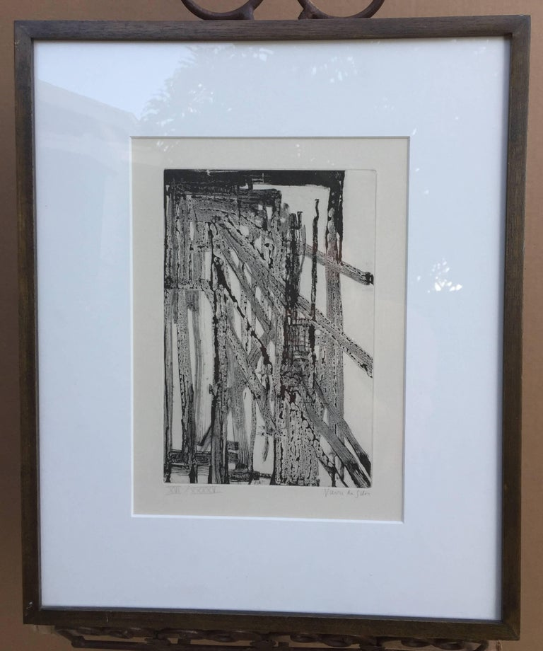 MARIA HELENA VIEIRA da SILVA (1908 - 1992)  UNTITLED, 1960-70 Intaglio, signed and numbered XVII/XXXXV. 9 1/4 x 6 inches. Generally good condition, very slight light stain around mat opening, mat burn on verso.  From Wikipedia: Vieira da Silva was