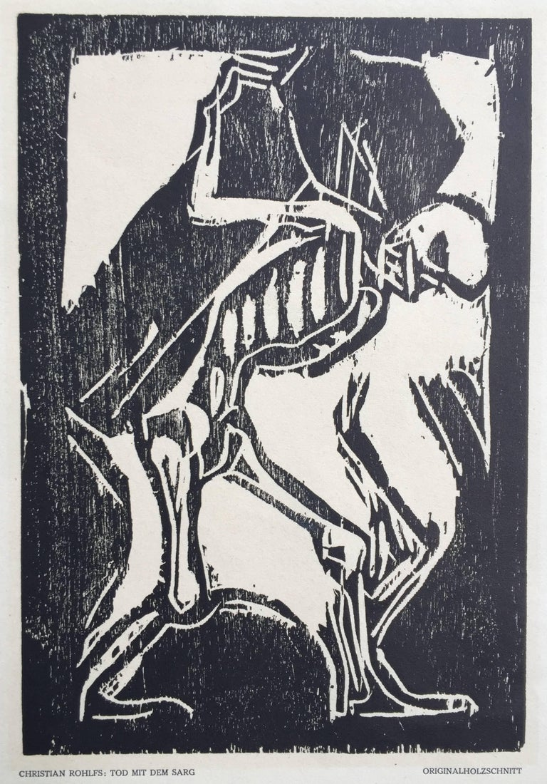 Christian Rohlfs Figurative Print - TOD MIT DEM SARG (Death with a Coffin)