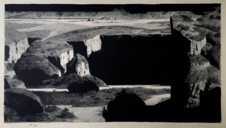 "CONRAD BUFF (1886 – 1975)             BLACK MOUNTAIN c. 1930's           Lithograph, unsigned, but no. 46/50.  9"" x 16 ¼""           Provenance:  Purchased from a friend of Buff's who acquired it from directly from Buff.               Conrad Buff is"