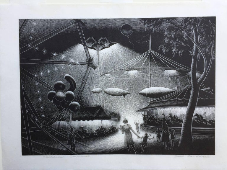 "PAUL LANDACRE (1893 – 1963)             CHILDREN'S CARNIVAL 1946            Wood engraving.  Signed and titled in pencil.  Edition 265. Published by Associated             American Artists. 8 ½ x 12"". Full margins, Good condition, a little"