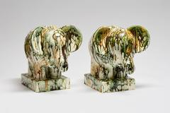 Large Green & Gold Elephants