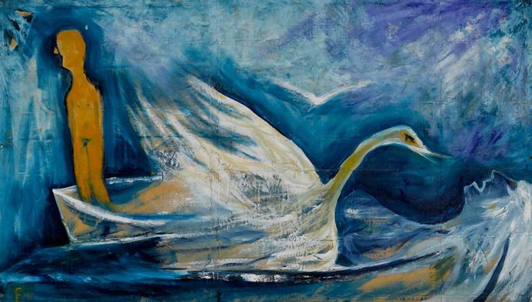 Lawrence Ferlinghetti Figurative Painting - Swan Song