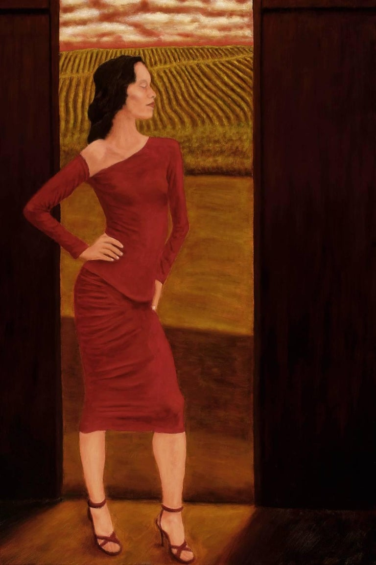 In this oil painting, a dark-haired woman in a dress of cadmium red and alizarin crimson stands in a barn doorway. In the background, ochre and olive green fields with red notes. A red sky frames her. Her posture exudes an attitude of