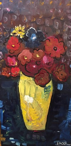 Oil on Wood Painting -- Large Yellow Vase With Flowers