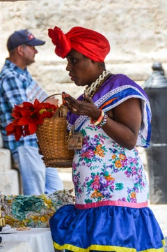 Color Photograph -- Woman in Traditional Attire, Havana