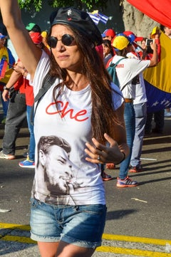Color Photograph  --  Woman at Workers March, Havana