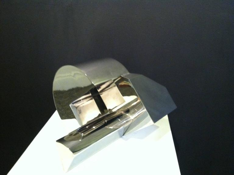 Stainless Steel Sculpture -- The Sun, the Moon and the Wedge - Abstract Art by Martin Rubio