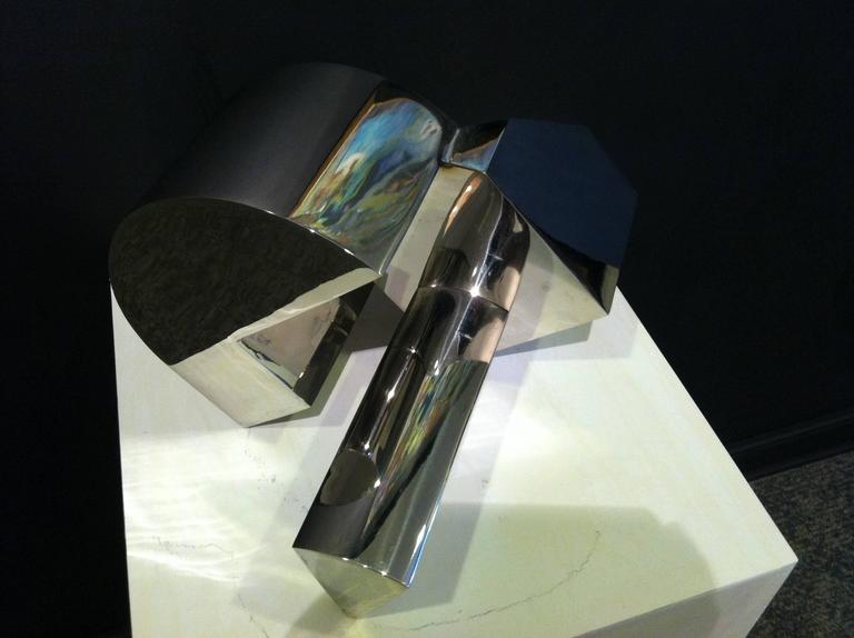 Stainless Steel Sculpture -- The Sun, the Moon and the Wedge For Sale 1