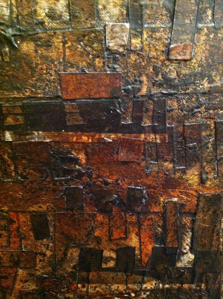 Using cut out pieces of canvas, paper, and clay collaged onto a larger canvas, this piece reflects the passage of time on material things. With terra-cotta and burnished brown palette, the piece reminds theviewer of some archeological discovery. As