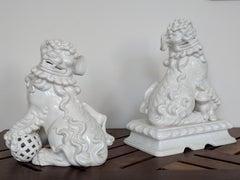 Pair of Italian White Ceramic Foo Dogs
