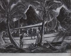 Early linocut of Moorea - 1939