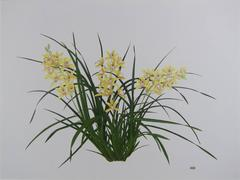 Large hyperrealist botanical of an orchid plant - I