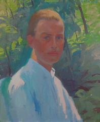 Colorful impressionist male portrait