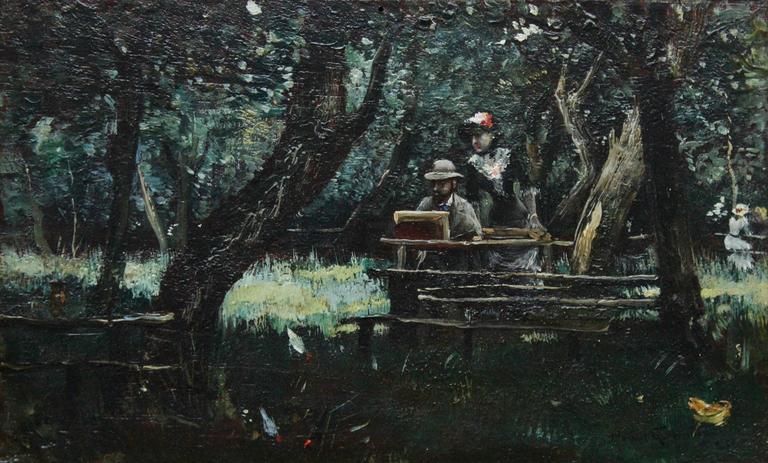 Norbert Goeneutte - Manet and Morisot - Bois De Boulogne at