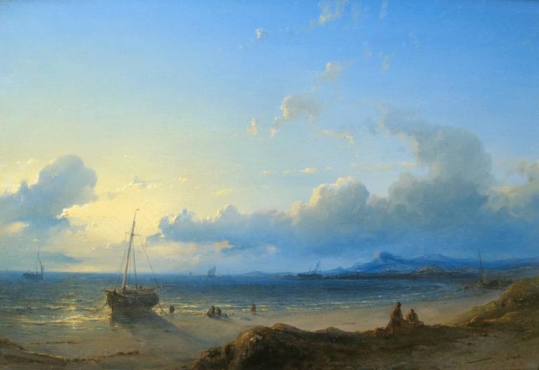 Abraham Hulk the Elder Figurative Painting - Sunset - Dutch Coast