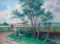 Guernes, la passerelle sur le bras de la Seine