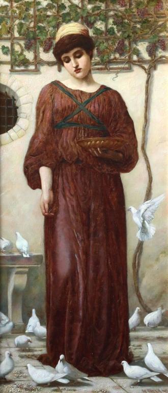 Henry Ryland Portrait Painting - White Doves