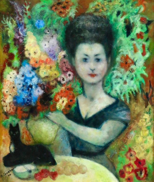 Edouard Goerg Portrait Painting - Women with Cat
