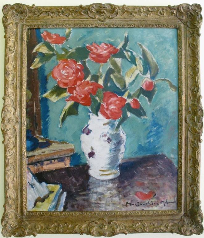 John Maclauchlan Milne Red Roses In A Vase Painting For Sale At