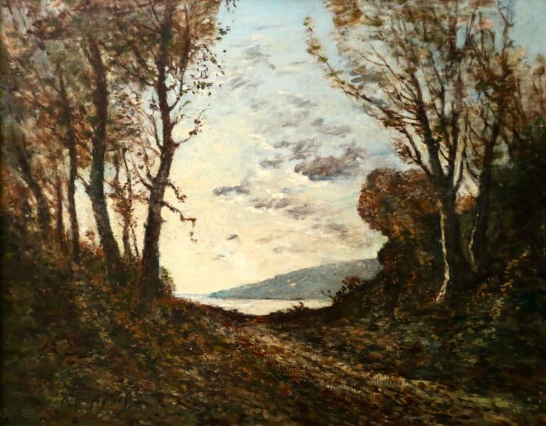 Henri Joseph Harpignies Landscape Painting - Bords de rivière à Saint-Privé