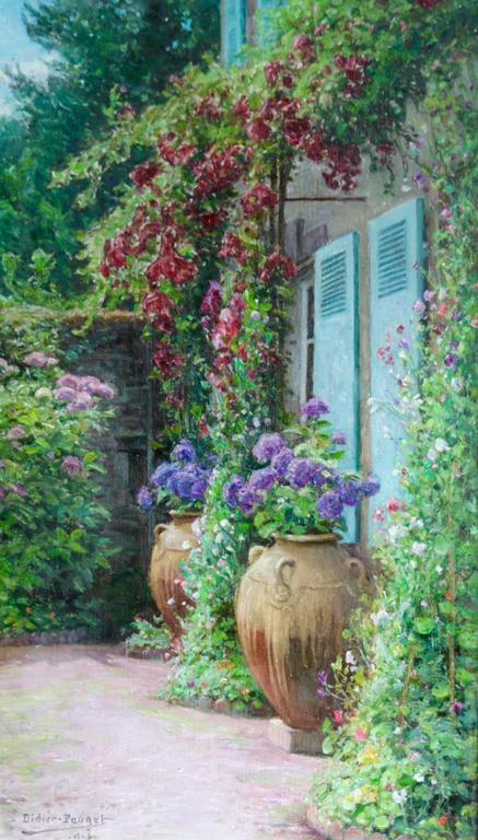 william didier pouget au coin de mon jardin painting for sale at 1stdibs. Black Bedroom Furniture Sets. Home Design Ideas