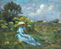 Elegant Woman in Field of Flowers
