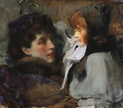 Florence and Kitty - 19th Century Oil, Figures in Interior -James Jebusa Shannon
