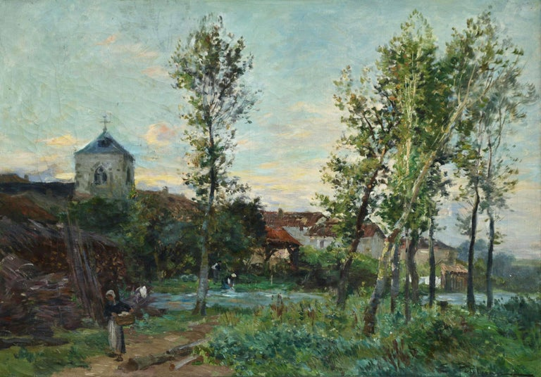 Edmond Marie Petitjean Figurative Painting - Late Afternoon in the Village