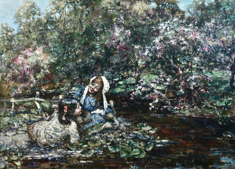 Edward Atkinson Hornel Figurative Painting - Gathering Flowers by a River
