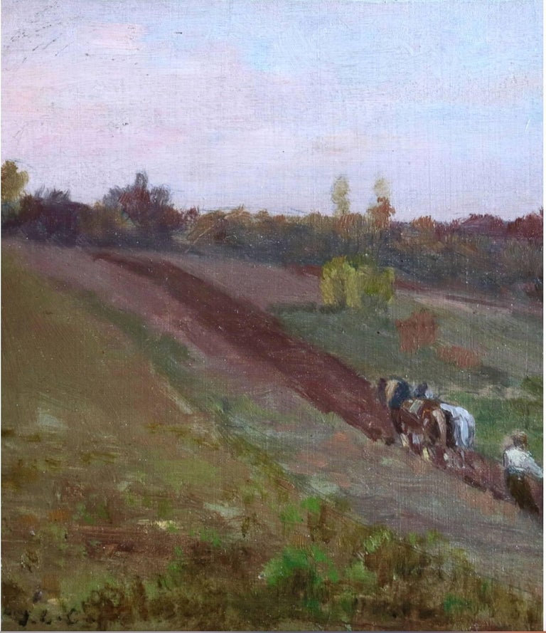 Jean-Charles Cazin Landscape Painting - Ploughing