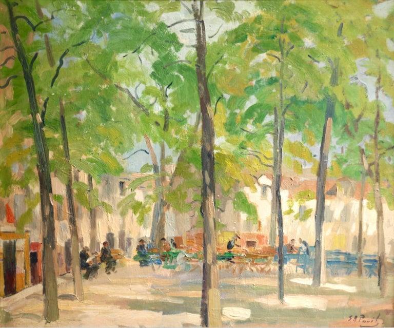 Elie Anatole Pavil Figurative Painting - Matin D'Ete, Place Du Tertre - Montmartre