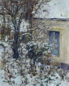 """Winter - Douai""  Duhem French 19th Century Impressionist White Snow Scene"