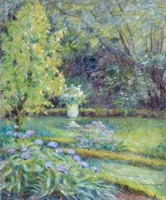 """Ma Jardin"" Duhem French 19th Century Impressionist Green Garden Landscape"