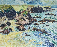 """Rochers sur la Cote"" Ferreieres 20th Century French Pointillist Blue Coastal"