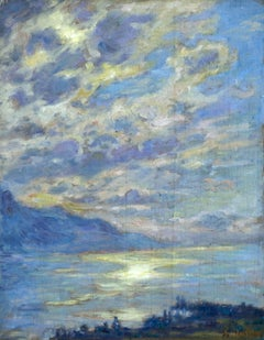 """Mont Riant - Vevey - Sunset"" Duhem 19th Century French Impressionist Mountain"