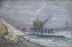 """""""Quai de Seine"""" Guillaumin C.19th French Impressionist Riverscape Pastel"""