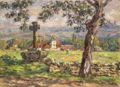 """Paysage Printemps - Vallee du Lot"" C.19th France Impressionist Church Landscape"