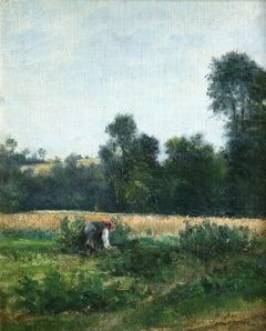 """""""Cueillir des Légumes"""" Lepine C.19th French Impressionist Barbizon Landscape"""