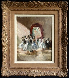 """La Danse"" Cosson C.19th French Impressionist Dancer Figures in Interior"