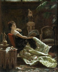 """Lady with a Fan"" Pinel de Grandchamp Orientalist Elegant Figure in Interior"