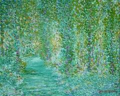 """Paysage-Quercy"" Verdou C.19th French Pointillist Landscape Green Blue"