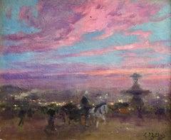 """""""Place de la Concorde - Sunset"""" Gillot C.19th Figures and Horses in Landscape"""