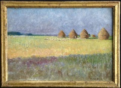 """Plaine de Barbizon"" Lecomte C.19th French Impressionist Haystacks in Landscape"