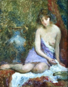 """Nude"" Mignon c.19th French Impressionist Woman Figure"